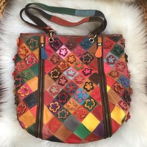 AMERILEATHER 'Maxille' Leather Tote Bag-Floral